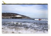 Ocean Waves Blue Sky And A Surfer At Malibu Beach Pier Carry-all Pouch