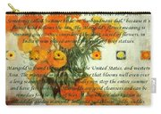 October's Child Birthday Card With Text And Marigolds Carry-all Pouch