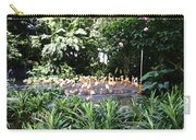 Oil Painting - A Number Of Flamingos Surrounded By Greenery In Their Enclosure  Carry-all Pouch