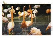 Oil Painting - A Number Of Flamingos With Their Heads Held High Inside The Jurong Bird Park Carry-all Pouch