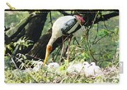 Oil Painting - Mama Stork Feeding Young Carry-all Pouch