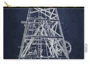 Oil Well Rig Patent From 1893 - Navy Blue Carry-all Pouch