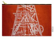Oil Well Rig Patent From 1893 - Red Carry-all Pouch