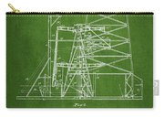 Oil Well Rig Patent From 1917- Green Carry-all Pouch