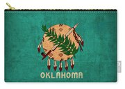 Oklahoma State Flag Art On Worn Canvas Carry-all Pouch