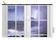Old 16 Pane White Window Stormy Lightning Lake View Carry-all Pouch
