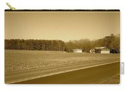 Old Barn And Farm Field In Sepia Carry-all Pouch