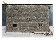 Old Barn In A Snow Storm Carry-all Pouch by Edward Fielding
