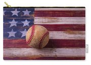 Old Baseball On American Flag Carry-all Pouch