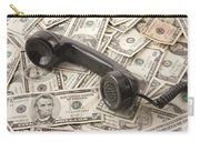 Old Black Phone Receiver On Money Background Carry-all Pouch