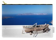 Old Boat On The Roof Of The Building On Santorini Greece Carry-all Pouch