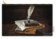 Old Books And A Quill Carry-all Pouch by Mary Machare