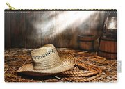 Old Farmer Hat And Rope Carry-all Pouch