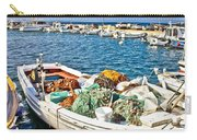 Old Fishing Wooden Boat With Nets Carry-all Pouch