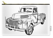 Old Flat Bed Ford Work Truck Illustration Carry-all Pouch