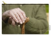 Old Hands Of A Senior On Walking Stick Carry-all Pouch