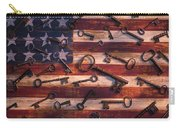 Old Keys On American Flag Carry-all Pouch