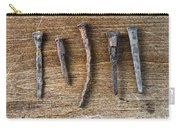 Old Nails On A Wooden Table Carry-all Pouch
