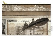 Old Papers And A Feather Carry-all Pouch by Carol Leigh