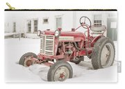 Old Red Tractor In The Snow Carry-all Pouch