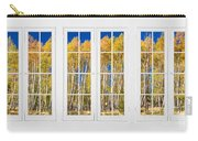 Old Triple16 Pane White Window Colorful Autumn Aspen Forest View Carry-all Pouch