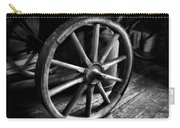 Old Wagon Wheel Black And White Carry-all Pouch
