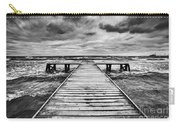 Old Wooden Jetty During Storm On The Sea Carry-all Pouch