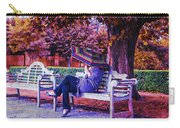 On A Bench Under An Umbrella In Autumn Carry-all Pouch