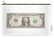 One Dollar Bill On White Background Carry-all Pouch