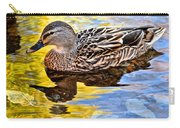 One Leaf Two Ducks Carry-all Pouch by Frozen in Time Fine Art Photography