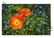 Orange And Blue - Beautiful Spring Orange Poppy Flowers In Bloom. Carry-all Pouch