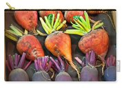 Orange And Purple Beet Vegetables In Wood Box Art Prints Carry-all Pouch