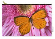 Orange Butterfly On Pink Daisy Carry-all Pouch
