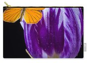 Orange Butterfly On Purple Tulip Carry-all Pouch
