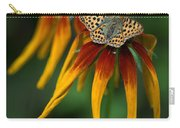 Orange Butterfly With Black Dots Sitting Onthe Red And Yellow Long Petaled Flowers Carry-all Pouch