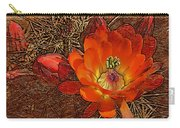 Orange Cactus Flower Gold Leaf Carry-all Pouch