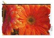 Orange Daisies Painterly With Border Carry-all Pouch
