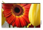 Orange Daisy With Tulips Carry-all Pouch
