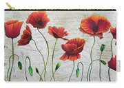 Orange Poppies Original Abstract Flower Painting By Megan Duncanson Carry-all Pouch