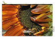 Orange Sunflower And Bee Carry-all Pouch