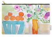 Oranges In Blue Bowl- Watercolor Painting Carry-all Pouch