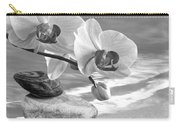 Orchids And Pebbles On The Sand In Black And White Carry-all Pouch