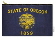 Oregon State Flag Art On Worn Canvas Carry-all Pouch