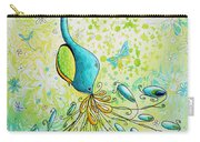 Original Acrylic Bird Floral Painting Peacock Glory By Megan Duncanson Carry-all Pouch