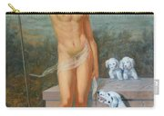 Original Classic Oil Painting Man Body Art-male Nude And Dogs #16-2-4-11 Carry-all Pouch