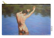 Original Classic Oil Painting Man Body Art-male Nude Standing In The Pool #16-2-4-05 Carry-all Pouch