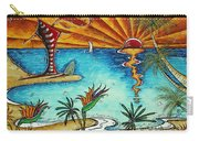 Original Coastal Surfing Whimsical Fun Painting Tropical Serenity By Madart Carry-all Pouch
