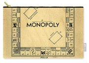 Original Patent For Monopoly Board Game Carry-all Pouch