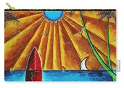 Original Tropical Surfing Whimsical Fun Painting Waiting For The Surf By Madart Carry-all Pouch