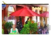 Outdoor Cafe With Red Umbrellas Carry-all Pouch